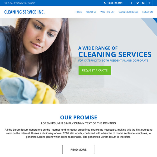 cleaning services responsive website template design Cleaning Services example