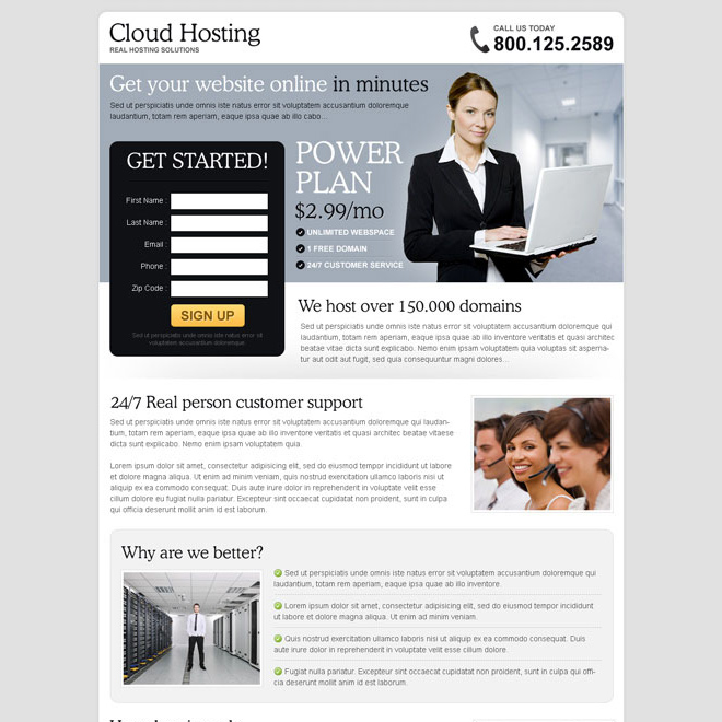 clean effective and converting lead capture landing page design for web hosting company Web Hosting example