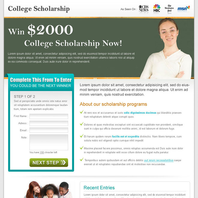collage scholarship effective lead capture landing page design for sale Education example