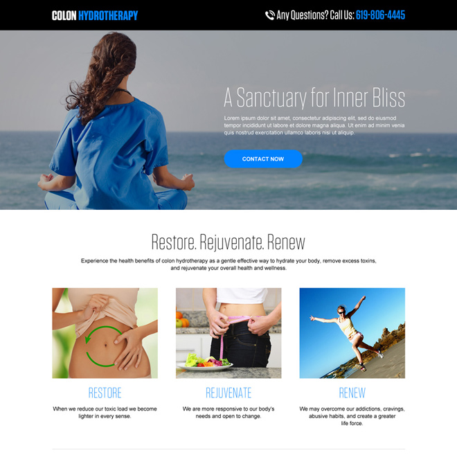 colon hydrotherapy minimal landing page design Medical example
