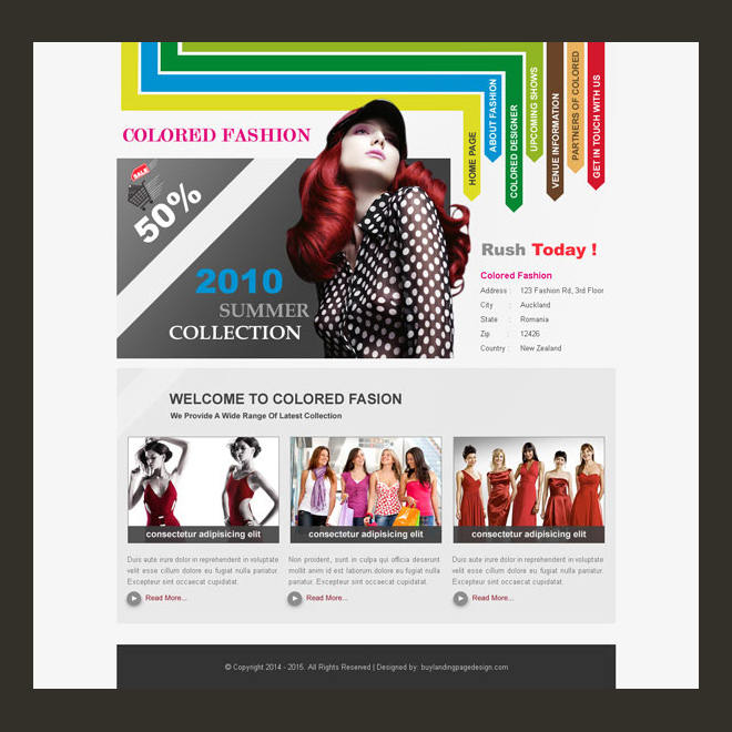 colored fashion clean and converting website template psd design Website Template PSD example