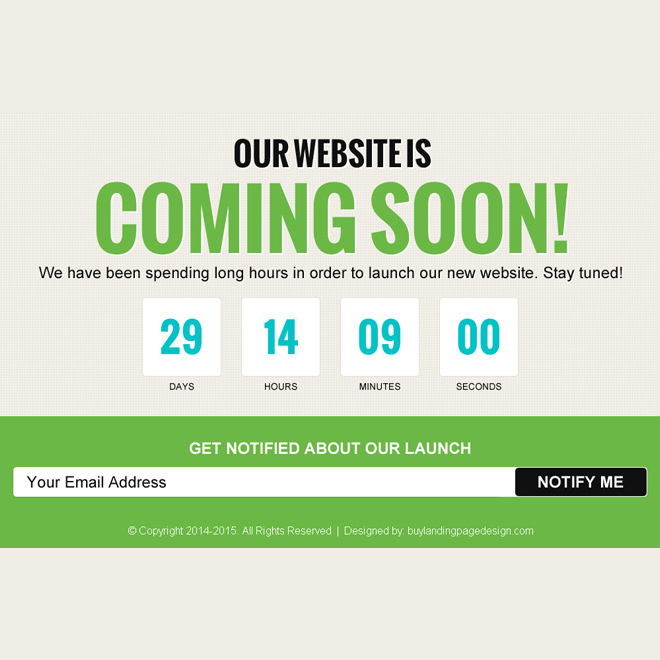 beautiful coming soon page for your upcoming website Coming Soon example