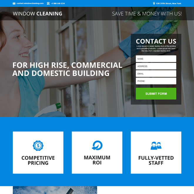 commercial and domestic cleaning services landing page design Cleaning Services example
