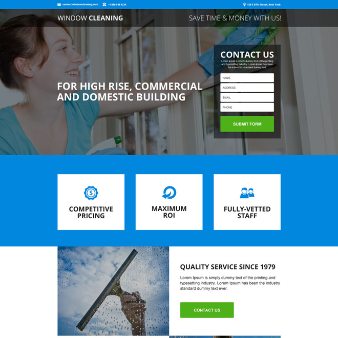 commercial window cleaning service responsive landing page Cleaning Services example