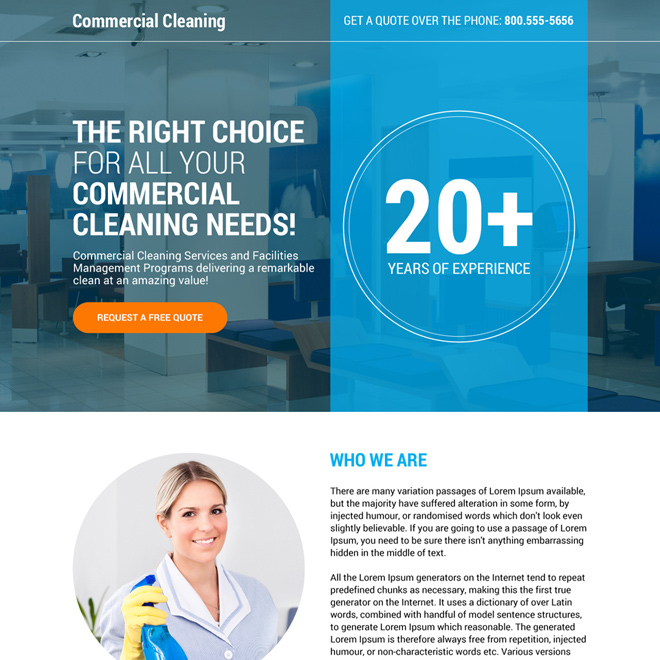 commercial cleaning service responsive landing page design Cleaning Services example