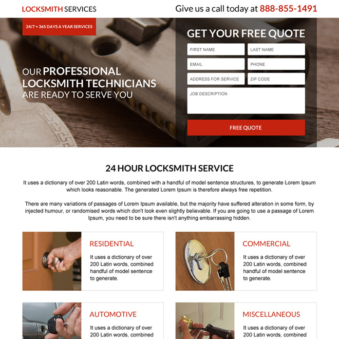 commercial locksmith service lead capturing responsive landing page Locksmith example