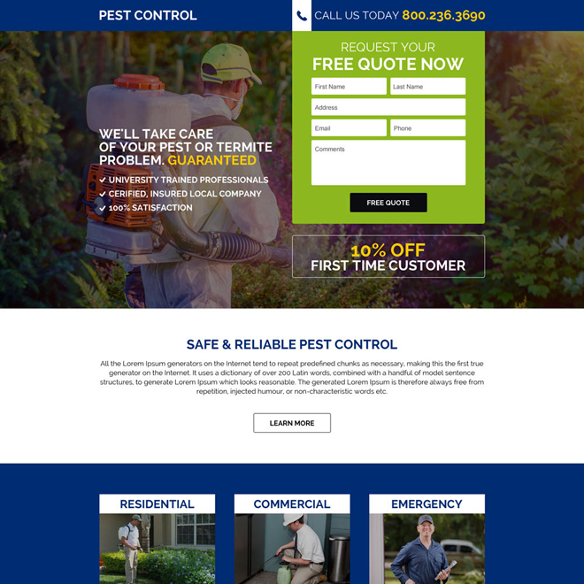 commercial pest control service responsive landing page design Pest Control example