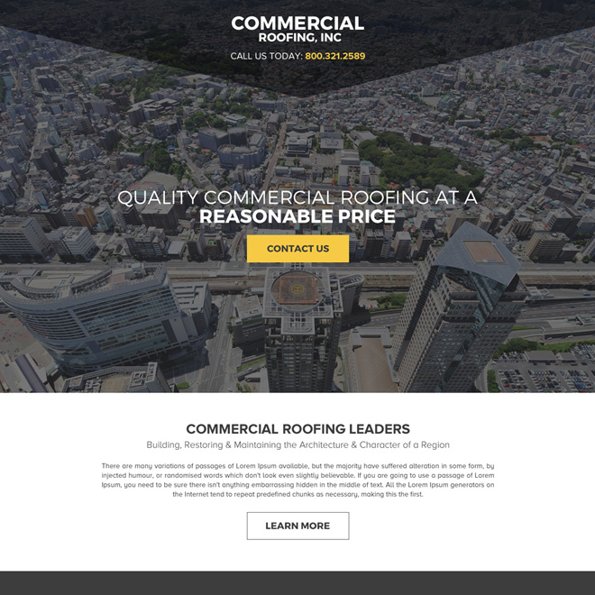commercial roofing call to action landing page design Roofing example