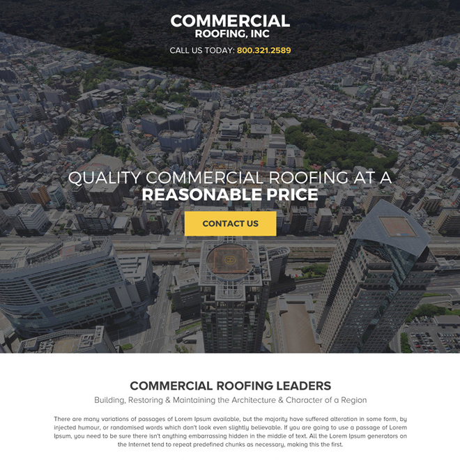 commercial roofing call to action responsive landing page design Roofing example