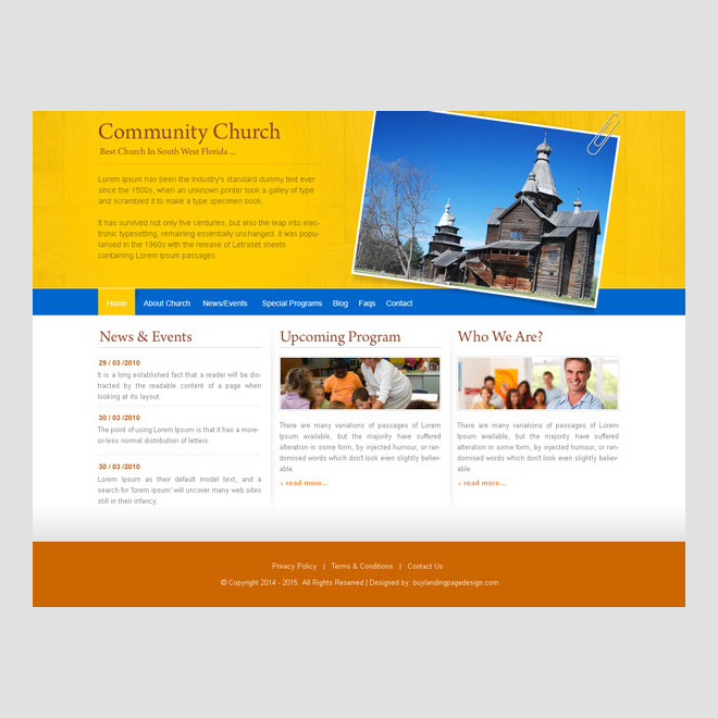 community church attractive and appealing website template design psd to create your church website Website Template PSD example