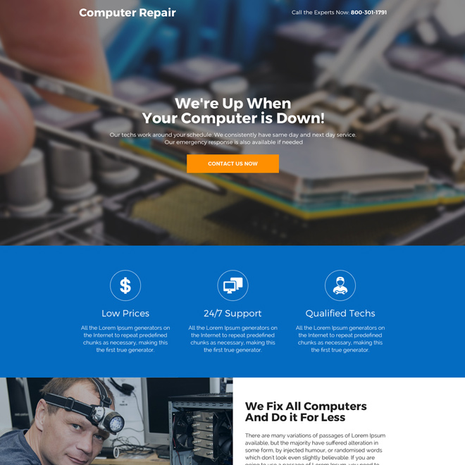 computer repair service professional landing page design Computer Repair example