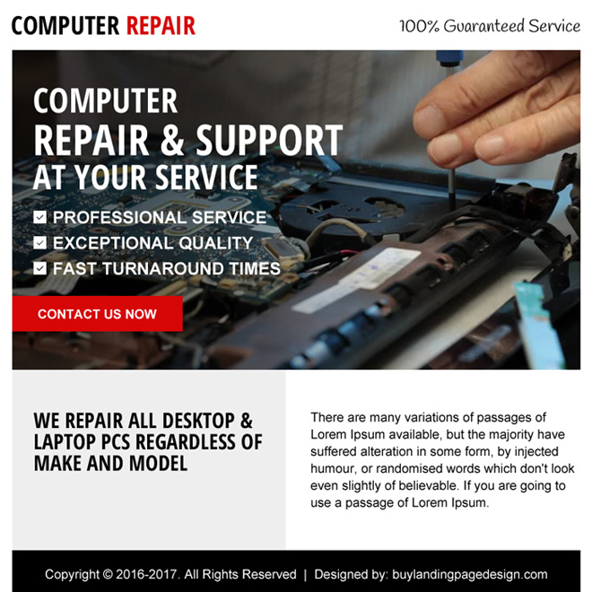 computer repair service ppv landing page design Computer Repair example