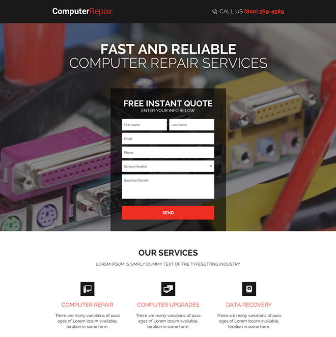 computer repair service instant quote landing page design Computer Repair example