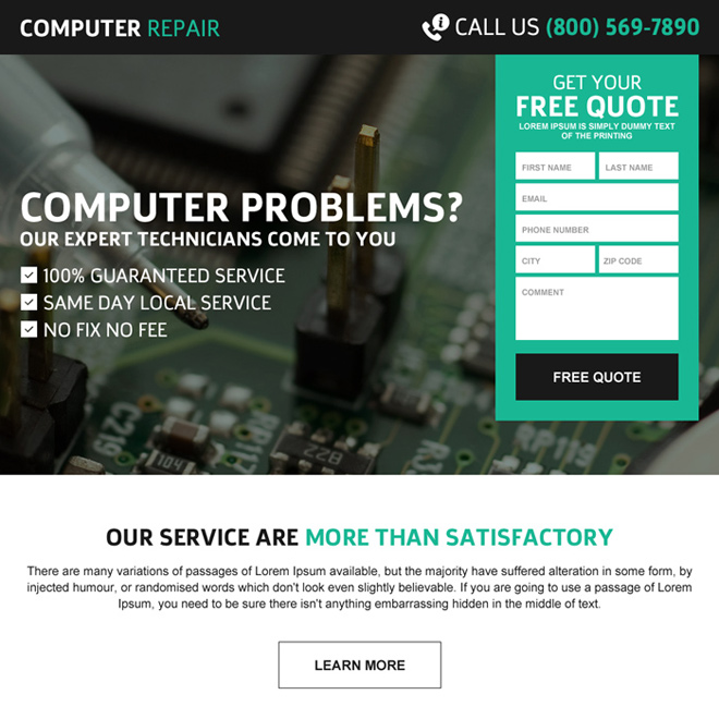 computer repair service effective free quote lead gen responsive landing page Computer Repair example
