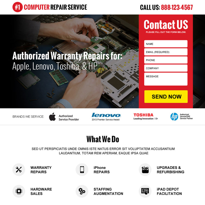 computer repair service lead generating landing page design Computer Repair example