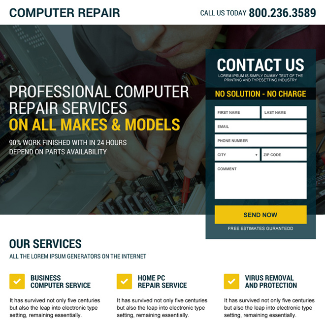 responsive computer repair service landing page design Computer Repair example