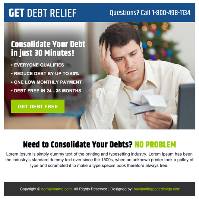 consolidate your debt ppv landing page design Debt example