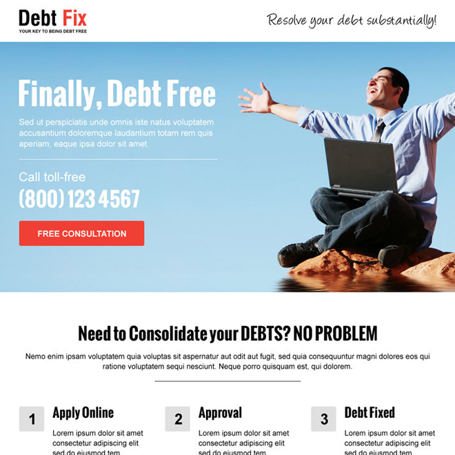 consolidate your debts call to action professional landing page design Debt example