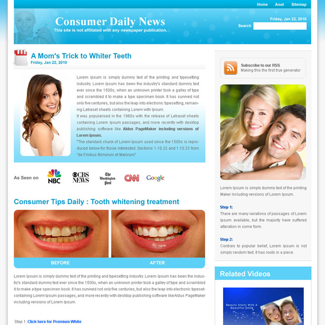 teeth whitening daily news landing page design template Flogs example