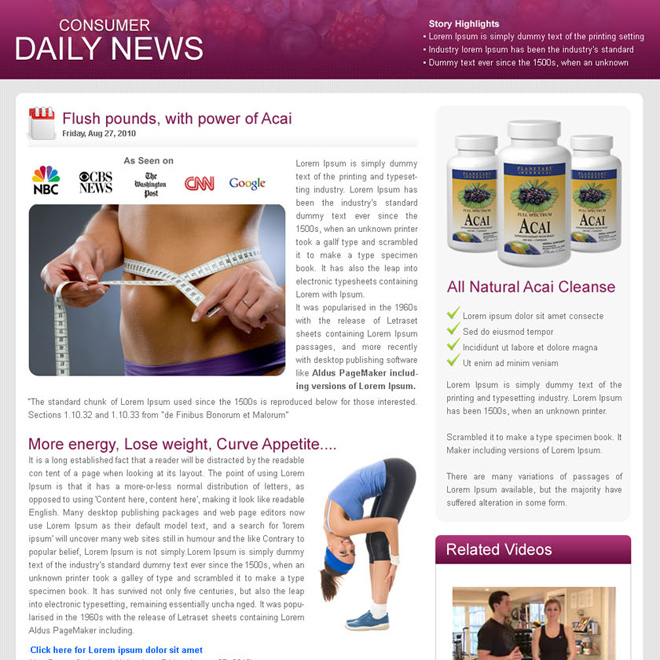 weight loss consumer daily news flog to maximize your conversion Flogs example