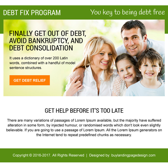 debt fix program ppv landing page design Debt example