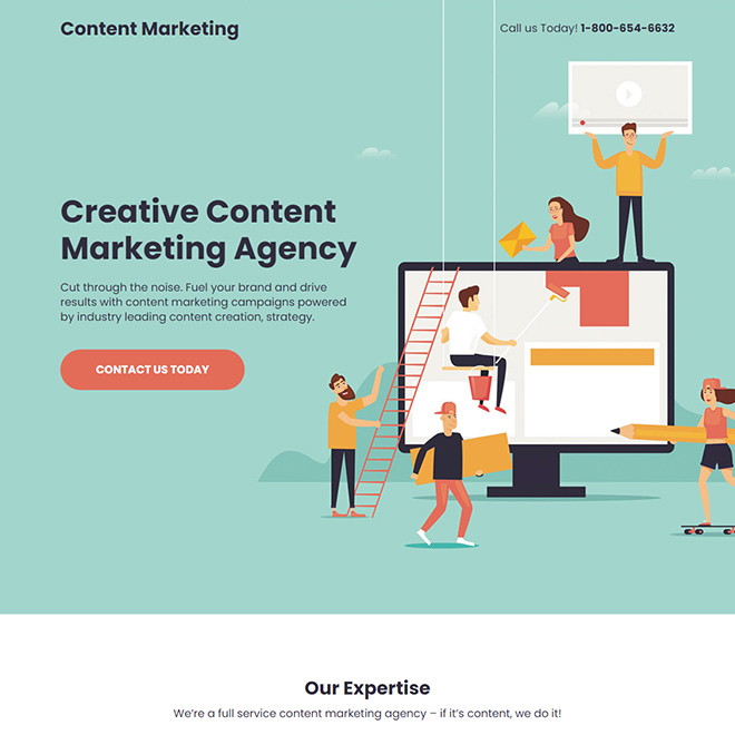 creative content marketing agency responsive landing page Marketing example