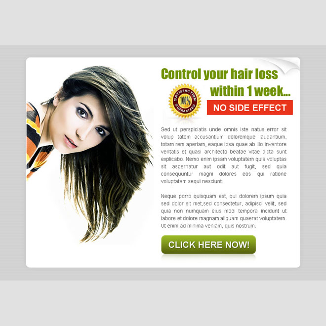 control your hair loss within 1 week converting ppv landing page design Hair Loss example
