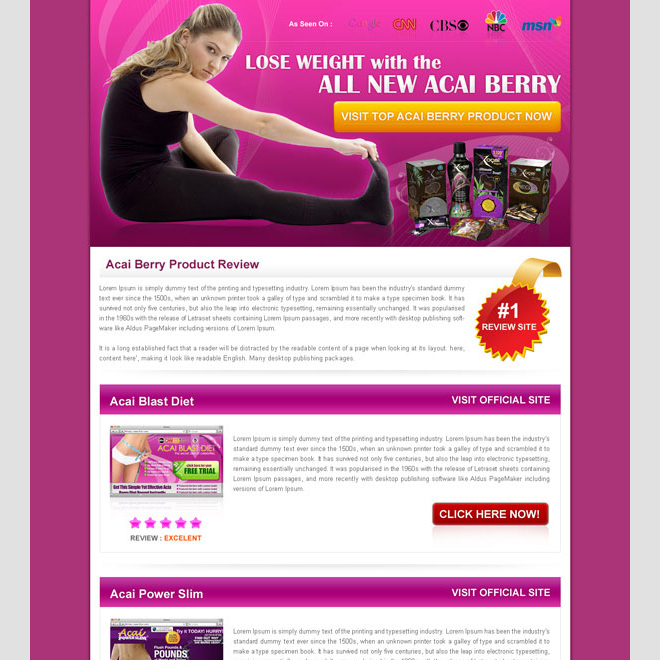 converting acai berry best review html landing page design Landing Page Design example