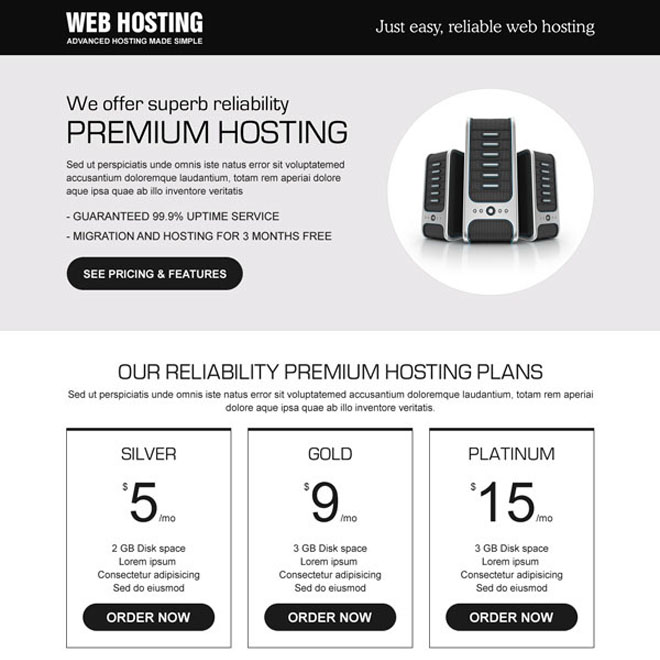 super reliability premium hosting plans call to action lander design web hosting example