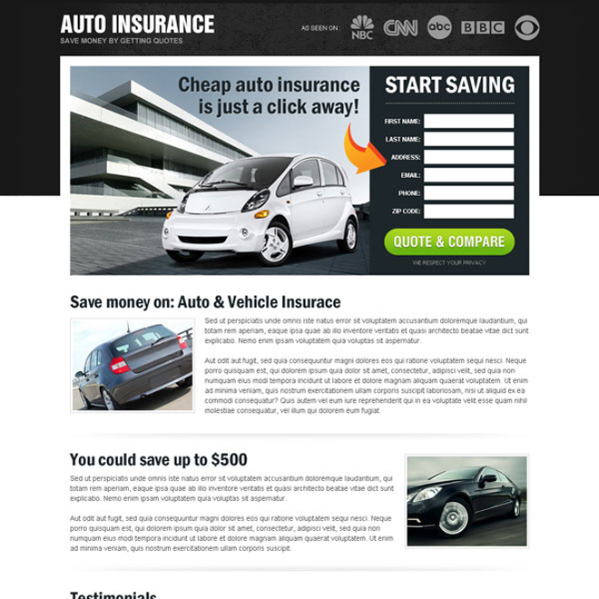 save money on auto insurance most converting and appealing html landing page design Auto Insurance example