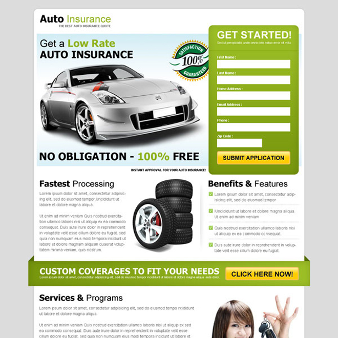 get a low rate auto insurance effective and attractive lead capture squeeze page design Auto Insurance example