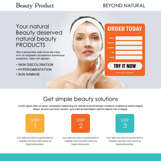 get natural beauty with natural beauty product very clean and converting landing page design template Beauty Product example