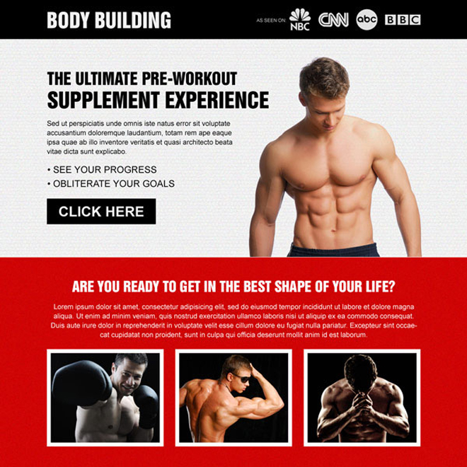 get the best shape of your body attractive and effective call to action landing page design to boost your conversion Bodybuilding example