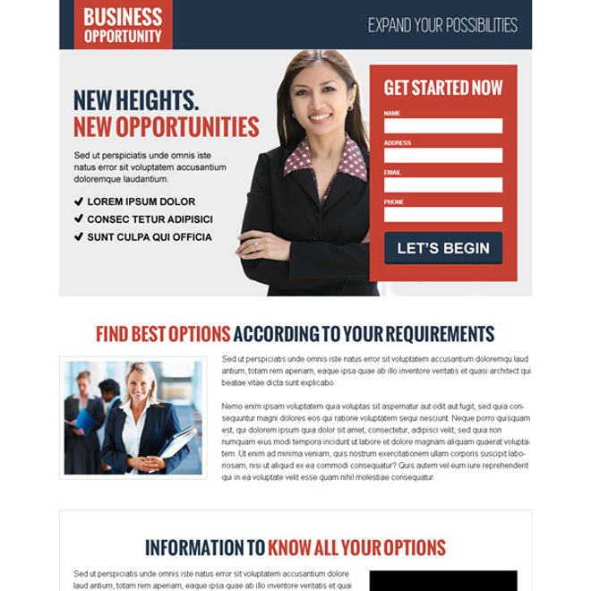 converting video lead capture landing page design for business opportunity Business Opportunity example
