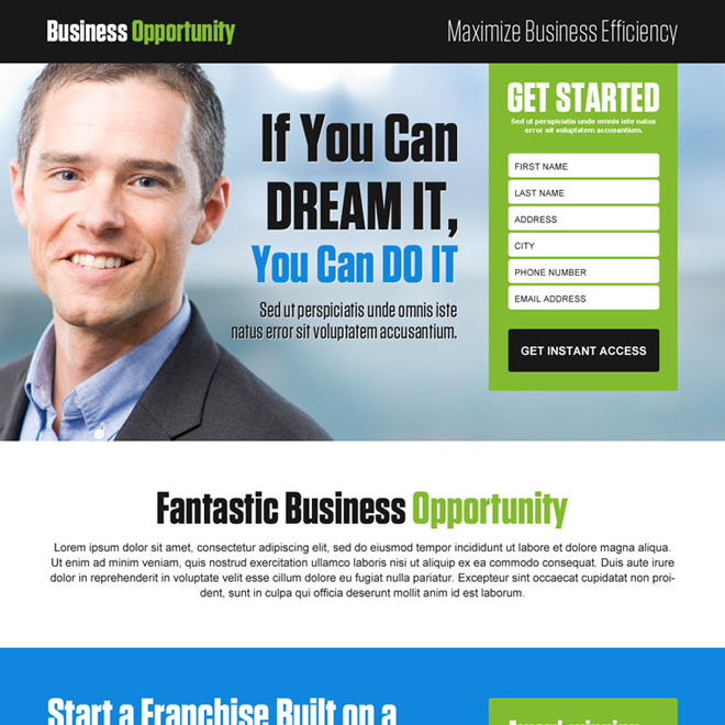 converting business opportunity responsive landing page design template Business Opportunity example