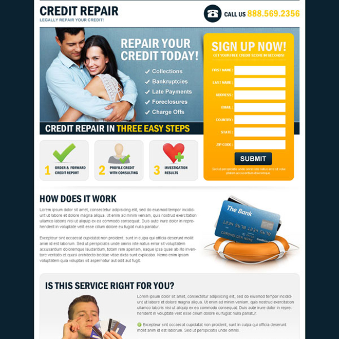 repair your credit today in 3 easy steps small lead gen squeeze page design Credit Repair example