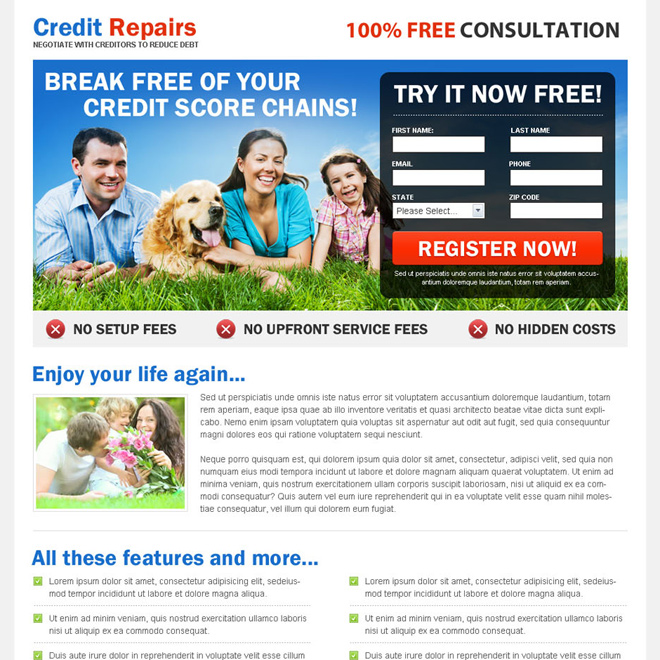 break free your credit score chains 2 column responsive landing page design Credit Repair example