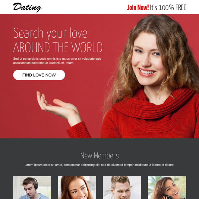 converting dating lead generating responsive landing page design Dating example