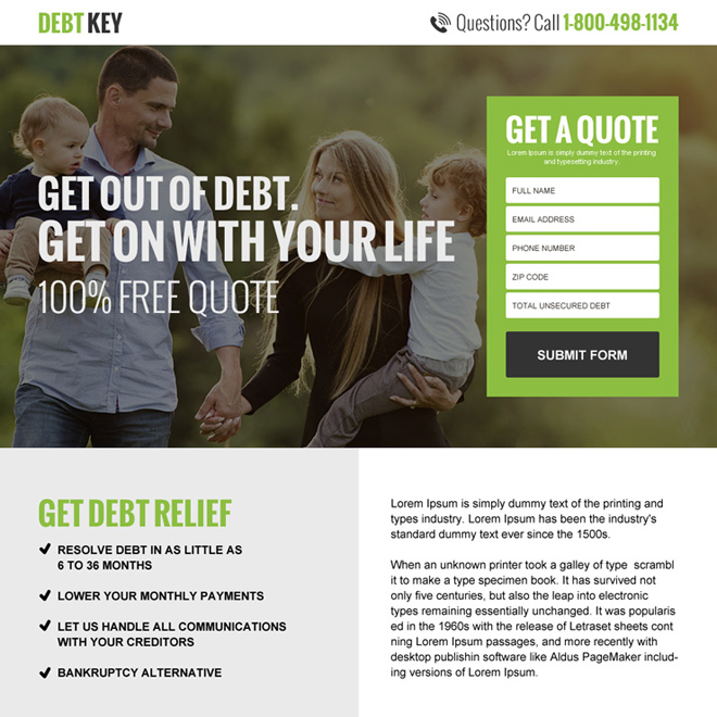 debt relief free quote landing page design Debt example