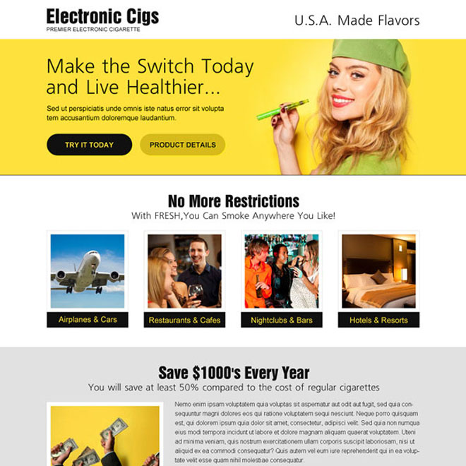 Electronic cigarette attractive and appealing call to action landing page design E Cigarette example