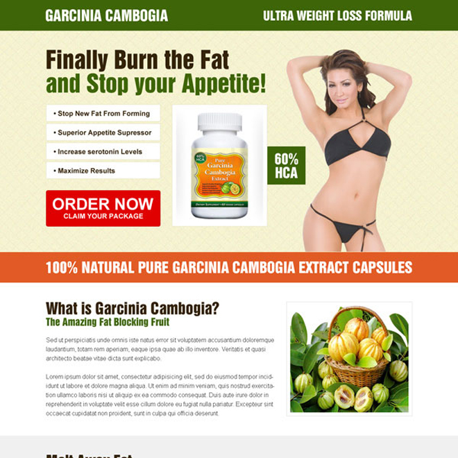 converting garcinia cambogia call to action appealing landing page design Weight Loss example