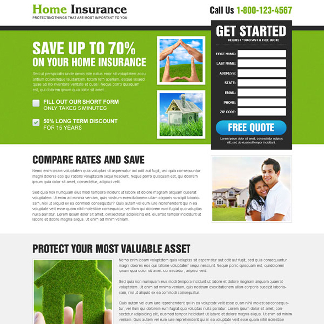 save on your home insurance optimized and clean home insurance landing page Home Insurance example