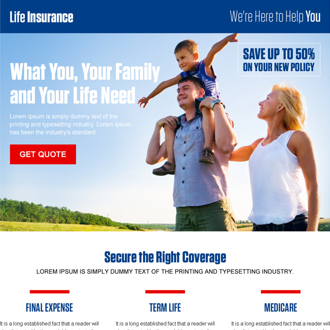 converting life insurance responsive landing page design template Life Insurance example