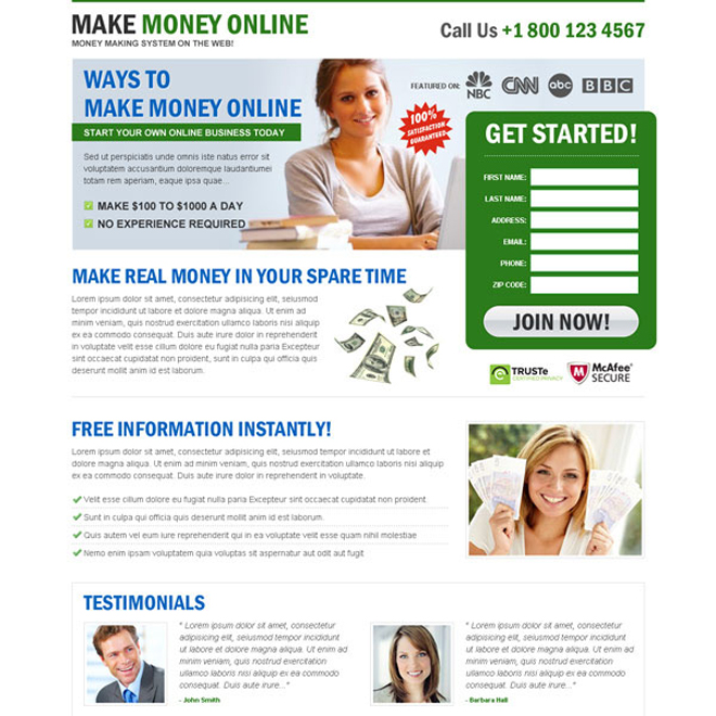 easy ways to make money online clean and minimal landing page design template Make Money Online example