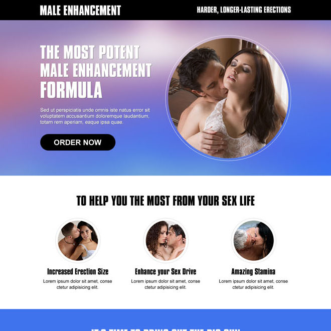 clean and converting male enhancement responsive landing page design to boost your male enhancement formula sales Male Enhancement example