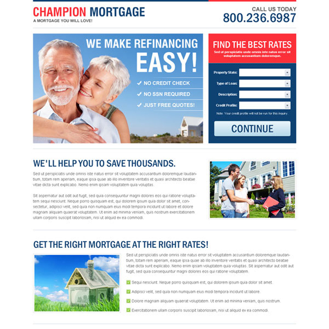 champion refinance mortgage creative lead capture lander design Mortgage example