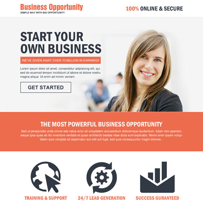 the most powerful business opportunity landing page design Business Opportunity example