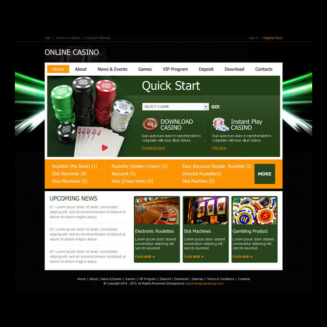 converting instant play online casino website template design psd for creating your website Website Template PSD example
