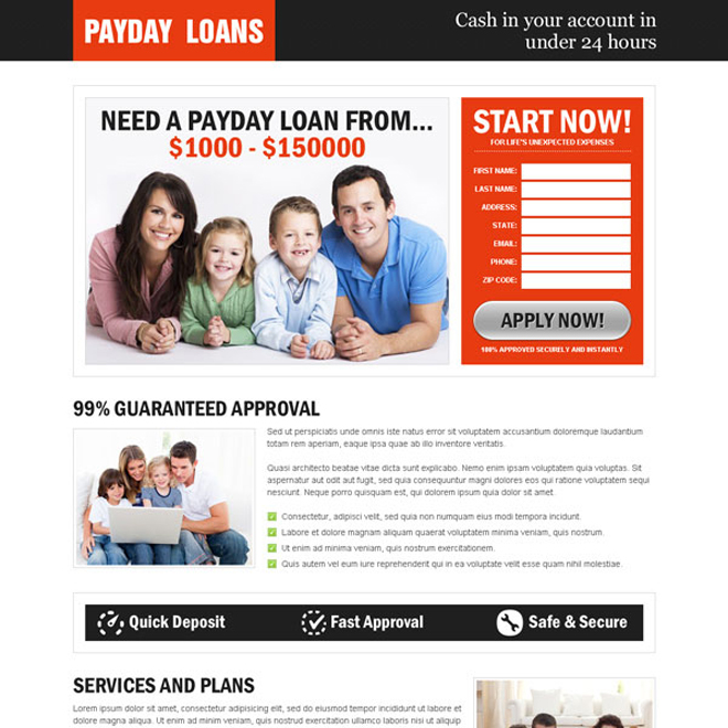 converting payday cash loan creative lead capture landing page Payday Loan example