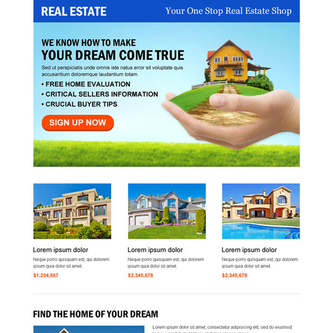 converting real estate business responsive landing page design template Real Estate example